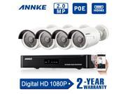 [1920*1080P HD Video] Annke® 4CH 1080P PoE NVR HD Home Security System w/ 4 Indoor/ Outdoor 100ft Night Vision 1080P Security Camera System (Power Over Ethernet, e-Cloud, 2.0 Megel-pixels)