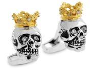 Tateossian Mens Silver with Gold Plated and Cubic Zirconia King Skull Cufflinks