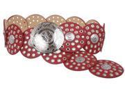 Women s 3 1 2 90 mm Wide Boho Discs Concho Leather Belt