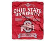 "Ohio State Buckeyes 50""x60"" Royal Plush Raschel Throw Blanket -  Label Design"