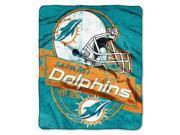"Miami Dolphins 50""x60"" Royal Plush Raschel Throw Blanket - Grandstand Design"