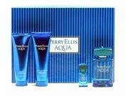 Genuine AQUA By PERRY ELLIS 4 Piece GIFT SET for Men including 3.4 Oz Eau De Toilette (EDT) Spray