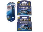 Schick Protector3 1 Razor + 8 Cartridges Refills Blade