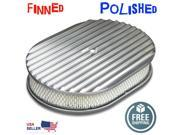 Vintage Parts USA VRT646233 12 Polished Aluminum Finned Oval Breather Cleaner Air Filter Fits Chevy Ford 9SIA7GW4SG1773