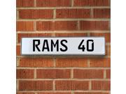 RAMS 40 NFL Los Angeles Rams White Stamped Street Sign Mancave Wall Art way pkwy ln metal personalized road cir real sign court dr lane license aluminum garage