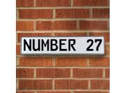 NUMBER 27 White Stamped Street Sign Mancave Wall Art real pressed metal traffic vintage plate pkwy enamel man cave dr personalized custom drive ct way road lice