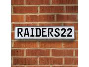 RAIDERS22 NFL Oakland Raiders White Stamped Street Sign Mancave Wall Art enamel sign parkway court garage ct pressed metal avenue pkwy cove st real ln embossed
