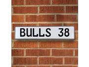 BULLS 38 NBA Chicago Bulls White Stamped Street Sign Mancave Wall Art embossed wall parkway lane metal enamel license court ct sign garage street pressed metal