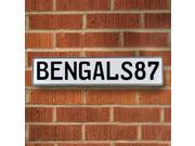 BENGALS87 NFL Cincinnati Bengals White Stamped Street Sign Mancave Wall Art metal way parkway custom court lane cir ln, pressed metal street sign man cave dot e