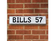 BILLS 57 NFL Buffalo Bills White Stamped Street Sign Mancave Wall Art garage circle plate license drive metal pkwy dr avenue personalized pressed metal ln wall