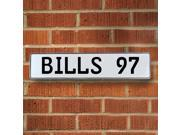 BILLS 97 NFL Buffalo Bills White Stamped Street Sign Mancave Wall Art court enamel drive avenue lane road cove street sign custom dot circle pressed metal st pa