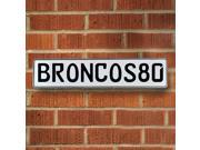 BRONCOS80 NFL Denver Broncos White Stamped Street Sign Mancave Wall Art street pressed metal lane wall ave road vintage court traffic dr real metal avenue custo