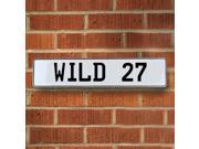 Vintage parts USA VPAY9115 WILD 27 White Stamped Aluminum Street Sign Mancave Wall Art