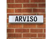 Vintage parts USA VPAYBEB1 Arviso White Stamped Aluminum Street Sign Mancave Wall Art