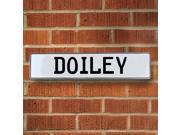 Vintage parts USA VPAY161FA Doiley White Stamped Aluminum Street Sign Mancave Wall Art