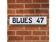Vintage parts USA VPAY20E8 BLUES 47 NHL St. Louis Blues White Stamped Street Sign Mancave Wall Art