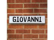 Vintage parts USA VPAY19FE5 Giovanni White Stamped Aluminum Street Sign Mancave Wall Art