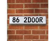 Vintage parts USA VPAY996F 86 2DOOR White Stamped Aluminum Street Sign Mancave Wall Art