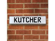Vintage parts USA VPAY20488 Kutcher White Stamped Aluminum Street Sign Mancave Wall Art