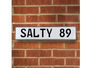 Vintage parts USA VPAY94CE SALTY 89 White Stamped Aluminum Street Sign Mancave Wall Art