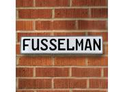 Vintage parts USA VPAY17980 Fusselman White Stamped Aluminum Street Sign Mancave Wall Art
