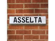Vintage parts USA VPAYBF40 Asselta White Stamped Aluminum Street Sign Mancave Wall Art