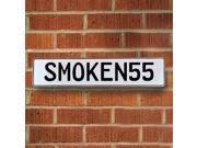 Vintage parts USA VPAY92BD SMOKEN55 White Stamped Aluminum Street Sign Mancave Wall Art