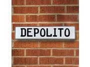 Vintage parts USA VPAY15D21 Depolito White Stamped Aluminum Street Sign Mancave Wall Art