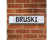 Vintage parts USA VPAYE79C Bruski White Stamped Aluminum Street Sign Mancave Wall Art