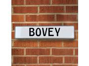 Vintage parts USA VPAYE268 Bovey White Stamped Aluminum Street Sign Mancave Wall Art
