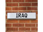 Vintage parts USA VPAYE77 IRAQ White Stamped Street Sign Mancave Wall Art