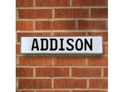 Vintage parts USA VPAYB696 Addison White Stamped Aluminum Street Sign Mancave Wall Art