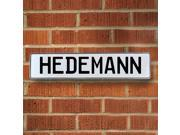 Vintage parts USA VPAY1B85D Hedemann White Stamped Aluminum Street Sign Mancave Wall Art