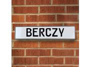 Vintage parts USA VPAYD856 Berczy White Stamped Aluminum Street Sign Mancave Wall Art