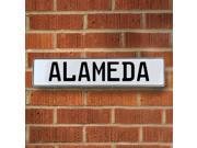 Vintage parts USA VPAYB820 Alameda White Stamped Aluminum Street Sign Mancave Wall Art