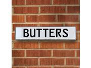 Vintage parts USA VPAYEB11 Butters White Stamped Aluminum Street Sign Mancave Wall Art