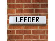 Vintage parts USA VPAY20B6C Leeder White Stamped Aluminum Street Sign Mancave Wall Art