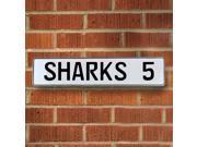 Vintage parts USA VPAY2253 SHARKS 5 NHL San Jose Sharks White Stamped Street Sign Mancave Wall Art