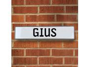 Vintage parts USA VPAY1A8A4 Gius White Stamped Aluminum Street Sign Mancave Wall Art