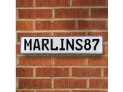 Vintage parts USA VPAY1CA6 MARLINS87 MLB Miami Marlins White Stamped Street Sign Mancave Wall Art