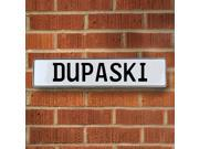 Vintage parts USA VPAY1669D Dupaski White Stamped Aluminum Street Sign Mancave Wall Art