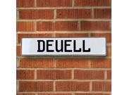 Vintage parts USA VPAY15E73 Deuell White Stamped Aluminum Street Sign Mancave Wall Art