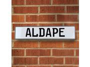 Vintage parts USA VPAYB893 Aldape White Stamped Aluminum Street Sign Mancave Wall Art