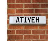 Vintage parts USA VPAYBF80 Atiyeh White Stamped Aluminum Street Sign Mancave Wall Art