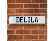 Vintage parts USA VPAY15430 Delila White Stamped Aluminum Street Sign Mancave Wall Art