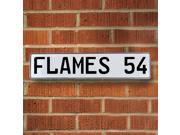 Vintage parts USA VPAY21BA FLAMES 54 NHL Calgary Flames White Stamped Street Sign Mancave Wall Art