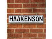 Vintage parts USA VPAY1B1E4 Haakenson White Stamped Aluminum Street Sign Mancave Wall Art
