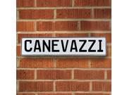 Vintage parts USA VPAY12A32 Canevazzi White Stamped Aluminum Street Sign Mancave Wall Art