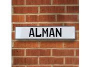 Vintage parts USA VPAYB985 Alman White Stamped Aluminum Street Sign Mancave Wall Art