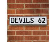 Vintage parts USA VPAY1E8B DEVILS 62 NHL New Jersey Devils White Stamped Street Sign Mancave Wall Art